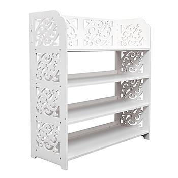 Wood-plastic Board Four Tiers Carved Shoe Rack White B