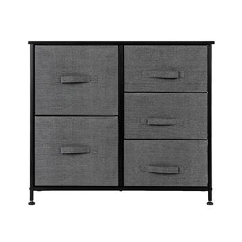 Dresser Organizer With 5 Drawers, Fabric Dresser Tower For Bedroom, Hallway, Entryway, Closets, Grey