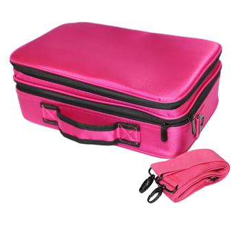 Professional High-capacity Multilayer Portable Travel Makeup Bag with Shoulder Strap (Small) Rose Re