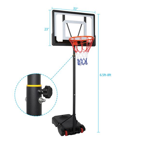 Portable Removable Basketball System Basketball Hoop Teenager PVC Transparent Backboard with 1.2m-2.1m Adjustable-Height Pole Maximum Applicable