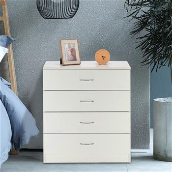 MDF Wood Simple 4-Drawer Dresser White