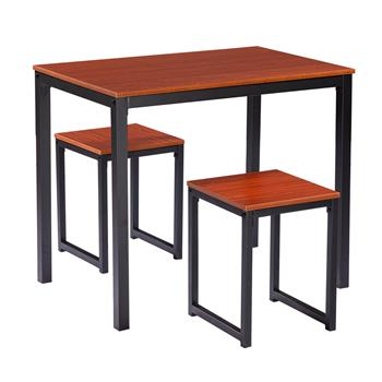 Simple Wood Grain 75cm High Dining Table And Chair Three-Piece [90 x 60 x 75cm] Cherry Wood Color