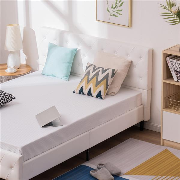 Button Decoration PU Iron Bed White Full