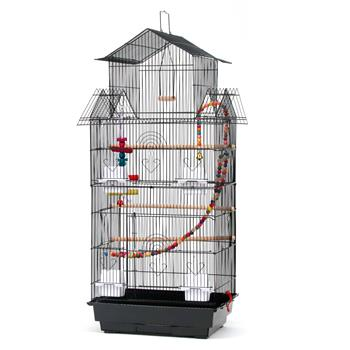 """39"""" Bird Cage Pet Supplies Metal Cage with Open Play Top with three Additional Toys Black"""
