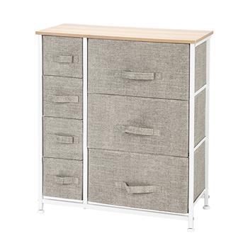 Dresser with 7 Drawers - Furniture Storage Tower Unit for Bedroom, Hallway, Closet, Office Organization - Steel Frame, Wood Top, Easy Pull Fabric Bins, Linen / Natural