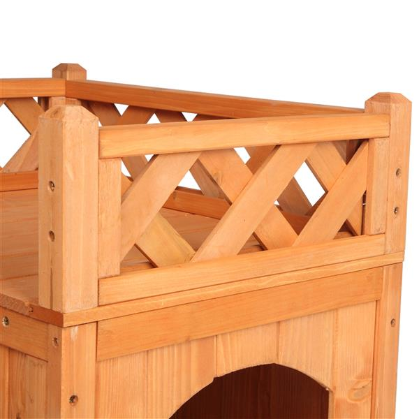 Pet Wooden Cat House Living House Kennel with Balcony Wood Color