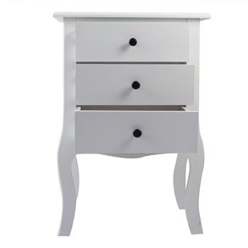 European Bedside Table-Three Pumps White