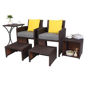 OSHION RFS-6 Set Of 6 2 Rattan Chairs   2 Pedals   1 High Table   1 Small Storage Table (Including 2 Pillows   2 8cm Cushions)-Brown