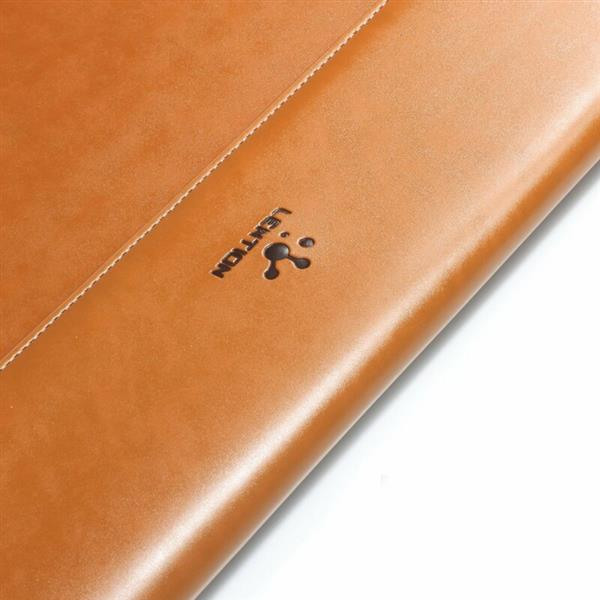 LENTION Split Leather Sleeve Magnetic Snaps Case Bag, Soft Touch, Compatible with 15-inch Slim Laptops (Brown & Gray)