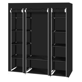 """69"""" Portable Clothes Closet Wardrobe Storage Organizer with Non-Woven Fabric Quick and Easy to Assemble Extra Strong and Durable Black"""