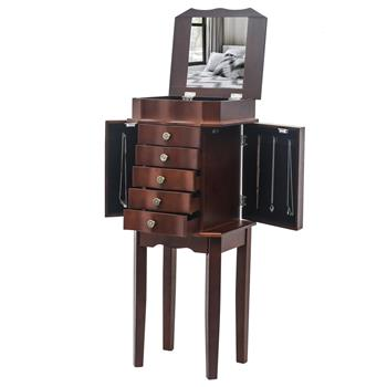 Standing Jewelry Armoire with Mirror, 5 Drawers & 6 Necklace Hooks, Jewelry Cabinet Chest with Top Storage Organizer , 2 Side Swing Doors(Brown)