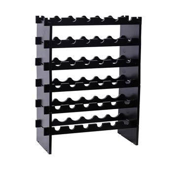 Free Standing Wooden Stackable Modular Wine Rack Storage Stand Display Shelves with 36 Bottles Capacity , Wobble-Free,Black