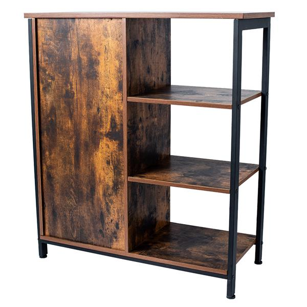 Storage Cabinet, Cupboard, Multipurpose Cabinet, 3 Open Shelves and Closed Compartments, for Kitchen, Living Room, Bedroom, Industrial, Rustic Brown and Black