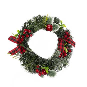 Artisasset A Christmas Wreath Decorated With Apples And Raspberries With Red Bows