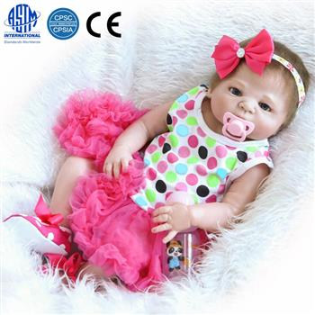 "23"" Beautiful Full Simulation Silicone Baby Girl Reborn Baby Doll in Dress"