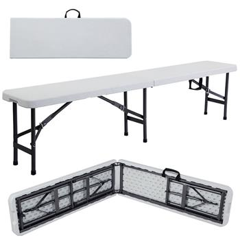 6' Portable Plastic In/Outdoor Picnic Party Camping Dining Folding Bench Off-white