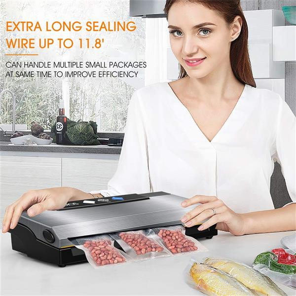 KOIOS Vacuum Sealer, 80Kpa Automatic Food Sealer with Cutter, 10 Sealing Bags, With Up To 40 Consecutive Seals, Dry & Moist Modes, Compact Design (