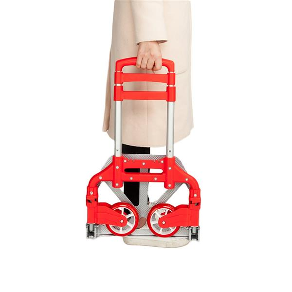 Ktaxon Folding Trolley Luggage Dolly Cart Height Adjustable Aluminum Collapsible Hand Cart with PU Rubber Wheels (Red)