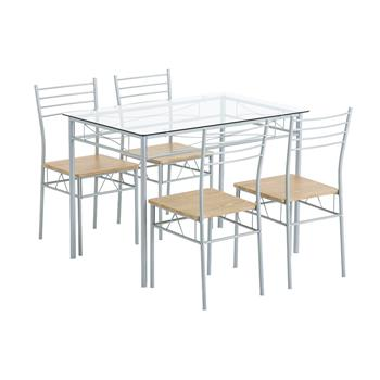 [110 x 70 x 76cm] Iron Glass Dining Table and Chairs Silver One Table and Four Chairs MDF Cushion