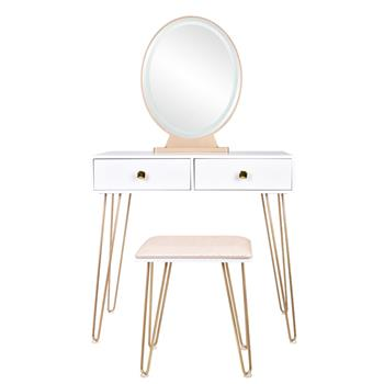 Bedroom Iron Dressing Table Simple Dressing Table Golden Iron Foot White Desktop With Light Three-Color Adjustable