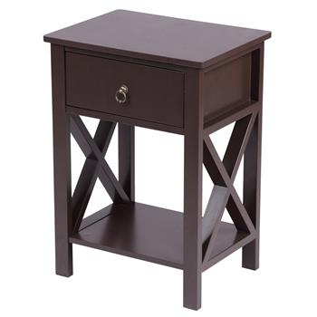 Brown Spray Paint Cross Type Single Suction Double Layer Nightstand [40x30x55cm]