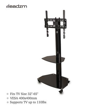 "Leadzm TSG004 32-65"" Corner Floor 2-Tier Shelves TV Stand Rolling Cart with Swivel Bracket"