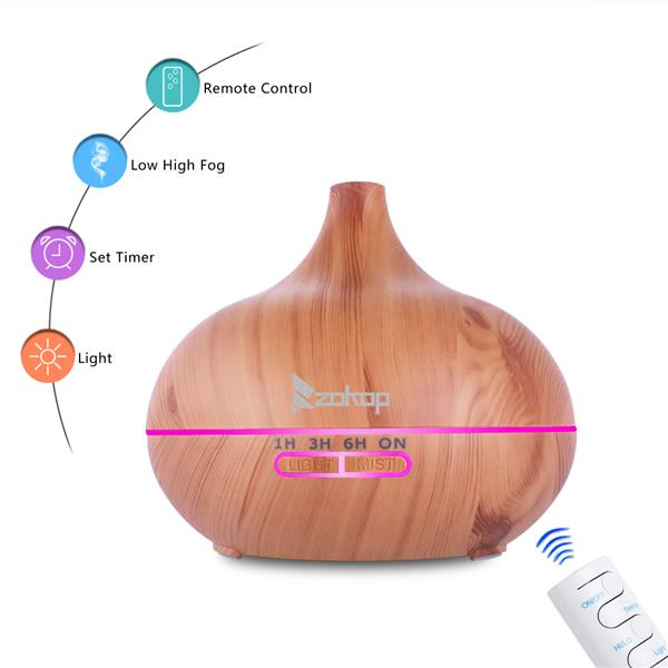 ZOKOP 500ml LED Essential Oil Aroma Air Aromatherapy Diffuser Cool Mist Remote Control
