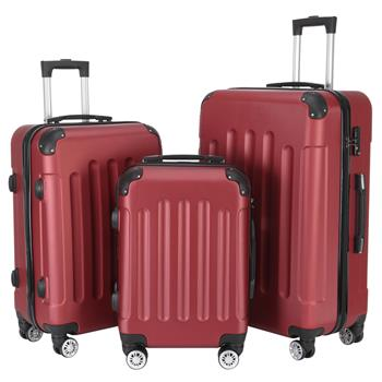 """3-in-1 Portable ABS Trolley Case 20"""" / 24"""" / 28"""" Wine Red"""