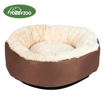 [HOBBYZOO] Pet Dog Cat Bed  Warm Soft Nest Round Brown