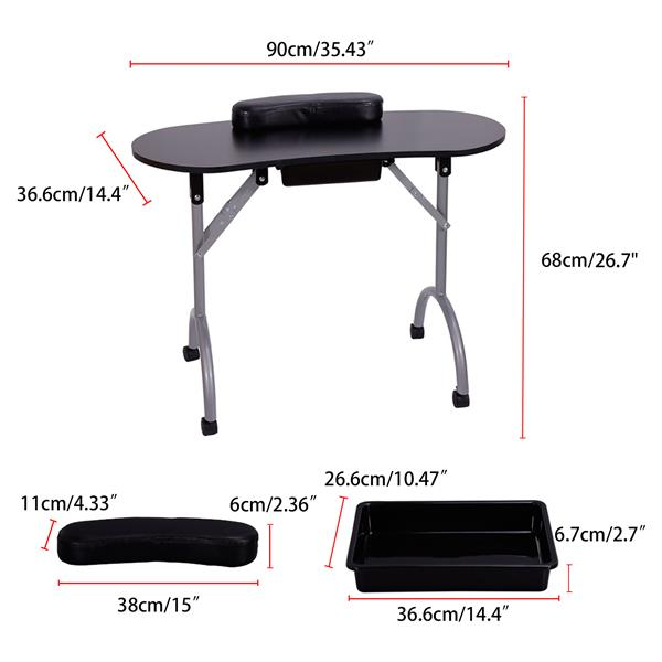 【LIFELEADS】Detachable portable folding nail table with 360 degree rotating wheels and large capacity drawer-black(We will temporarily not ship from February 9th, and resume delivery on February 27th)