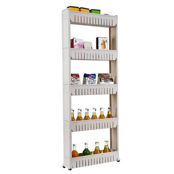 5 Tier Mobile Shelving Unit Organizer Slide Out Storage Tower Slim Storage Tower Rack with Wheels Pull Out Pantry Shelves Cart for Kitchen Bath Room Narrow Spaces-Grey