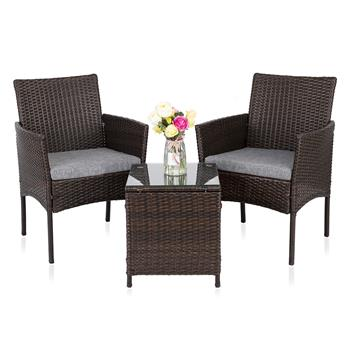 3 PCS PE Rattan Wicker Chairs Set Cushion with Table Outdoor Garden Furniture (Brown)