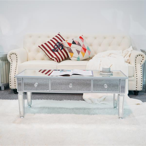 3 drawer Mirrored coffee table-Silver