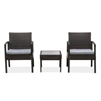 3 Piece Patio Furniture Set Wicker Rattan Outdoor Patio Conversation Set 2 Cushioned Chairs & End Table