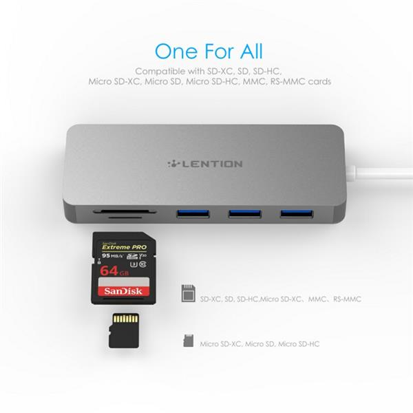 Ban on Amazon platform sales LENTION USB-C Multiport Hub with 3 USB 3.0 Ports, SD Card Reader, Micro SD Card Reader, Compatible with Thunderbolt 3 (Dark Gray)