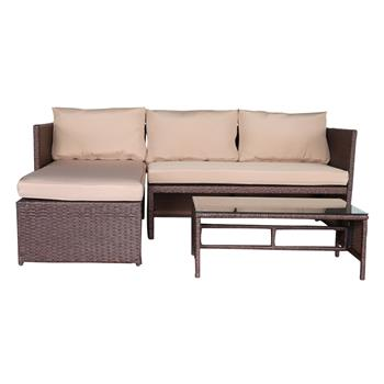 Oshion 3 Pieces Wood Grain PE Wicker Rattan Ottoman with Tempered Glass Table Patio Sofa Set (Loveseat Corner   Chaise Longue   Coffee Table) - Brown