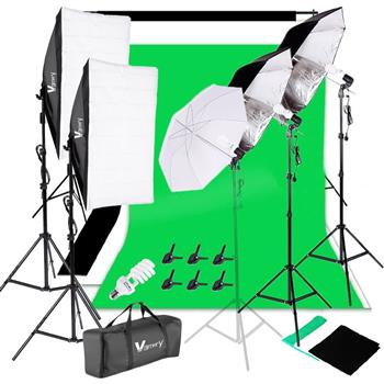 Kshioe 220V 45W White Umbrellas Silver Black Umbrellas Soft Light Box Background Stand Light Stands Four Lights Set UK Standard