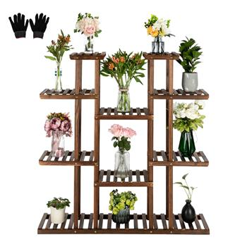 Artisasset 6-Story 11-Seat Indoor And Outdoor Multifunctional Carbonized Wood Plant Stand