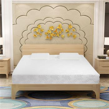 """14"""" Three Layers Cool Medium High Softness Cotton Mattress with 2 Pillows (Queen Size) White"""