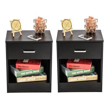 2pcs Night Stands with Drawer Black