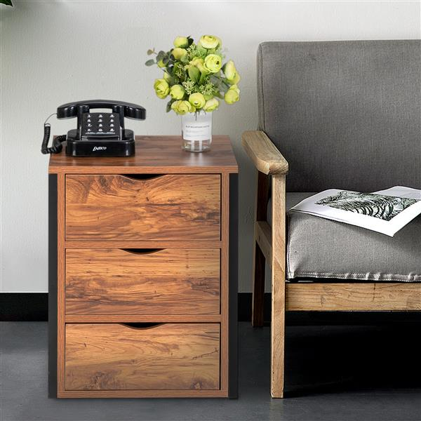 Steel Frame Three Draw Bedside Table