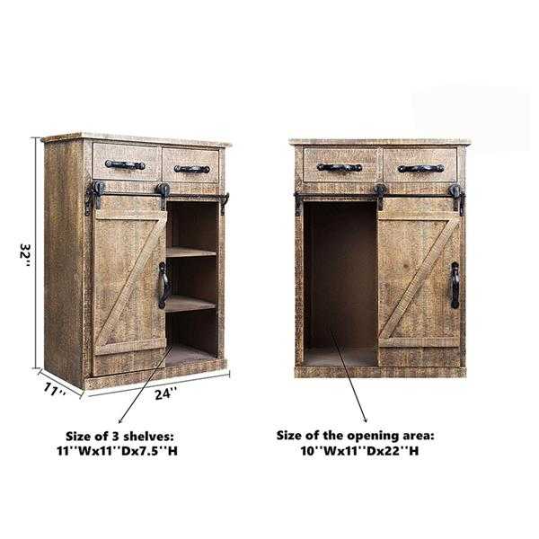 Classic American Country Style Single Barn Door With 2 Drawers Vintage Wooden Cabinets