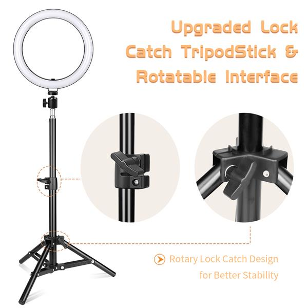 Kshioe 10-inch Ring Light (with PTZ Clip)  50cm Small Floor Lamp Stand Set(DO NOT SELL ON AMAZON)