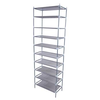 Simple Assembly 10 Tiers Non-woven Fabric Shoe Rack Gray