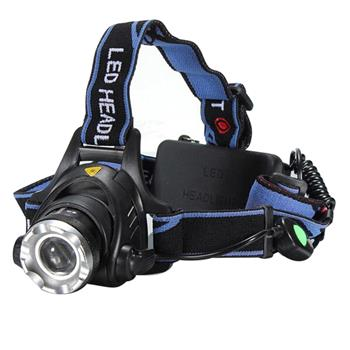 1800lm Middle Switch White Light Stretchable Headlamp Suit with US AC Adapter & 18650 Batteries Blue