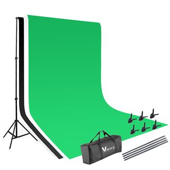 Kshioe 1.6*3m Non-woven Fabrics 2*3m Background Stand Photography Video Studio Lighting Kit Black
