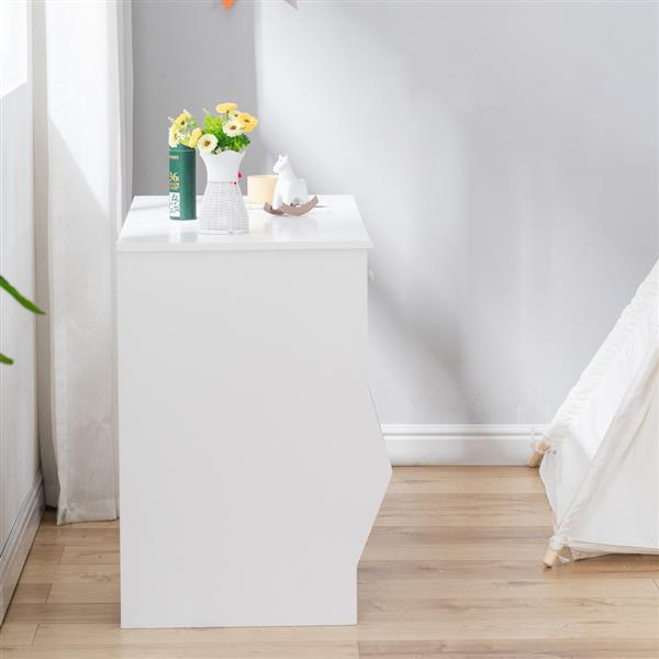 Painted Simple Student Table B, White with Drawers and Storage Function (108*49*73.5cm)