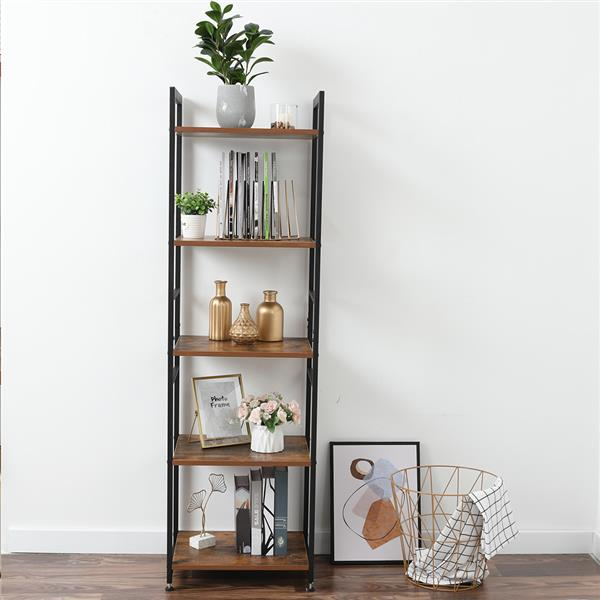 5-Tier Corner Shelf, Free Standing Ladder Shaped Plant Flower Stand Rack Bathroom Storage Tower Industrial Style Utility Organizer Wood Look Accent Metal Frame Modern Furniture Home Office