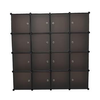Modular Closet Organizer Plastic Cabinet, 16 Cube Wardrobe Cubby Shelving Storage Cubes Drawer Unit, DIY Modular Bookcase Closet System Cabinet with Doors for Clothes, Shoes, Toys, Brown