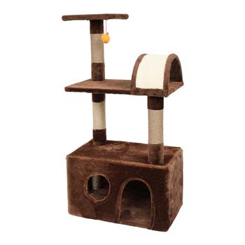 """HOBBYZOO 39"""" Cat Tree Tower with Plush Condos, Scratching Post, Toy, Brown"""